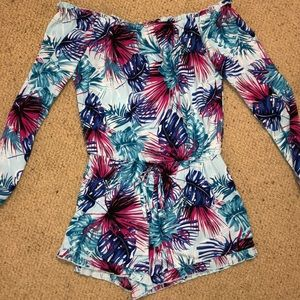 New Izzy and Lola tropical off the shoulder romper